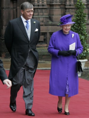 The 6th Duke of Westminster and Queen Elizabeth II leaving Chester Cathedral after the wedding of Lady Tamara Grosvenor and Edwin van Cutsem.