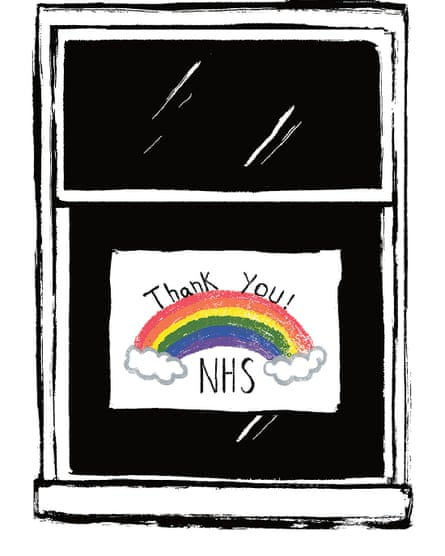 Illustration of a window with rainbow and thank you nhs poster