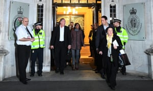 Gina Miller, centre, leaves the supreme court in London after the third day of the article 50 hearing.