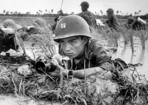 Huynh Thanh My, pinned down with a Vietnamese battalion in a Mekong Delta rice paddy, about a month before he was killed while covering combat on October 13, 1965. His younger brother, Nick Ut, later came to work for the AP
