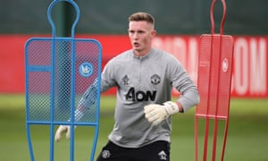 Dean Henderson keeps busy in training at Manchester United.