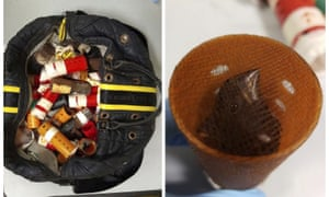 A bag containing hair curlers used to smuggle live finches into the US for use in singing contests.