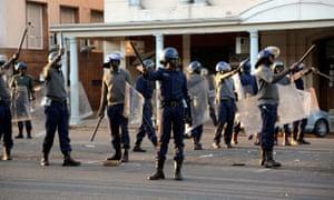 Riot police  in Bulawayo