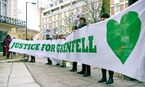 Protesters call for justice outside the Grenfell Tower public inquiry in London this week.