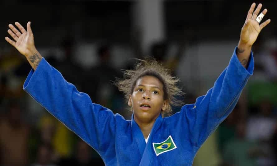 Rafaela Silva celebrates after winning the gold medal of the women's 57-kg judo competition