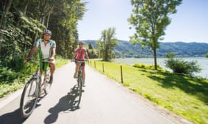 Couple cycling along the Danube.