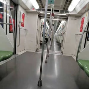 A nearly empty Metro train carriage