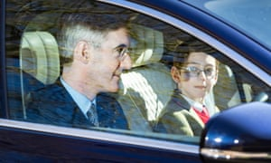 Jacob Rees Mogg and son Peter arrive at Chequers for a meeting with Theresa May.