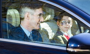 Jacob Rees Mogg and his son Peter arriving at Chequers on Sunday.
