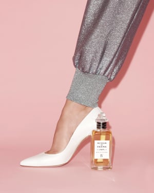 Note di Colonia IV, £298, by Acqua di Parma. Trousers, £620, by Stella McCartney available at Net-a-Porter. Heels, £355, by Stuart Weitzman.