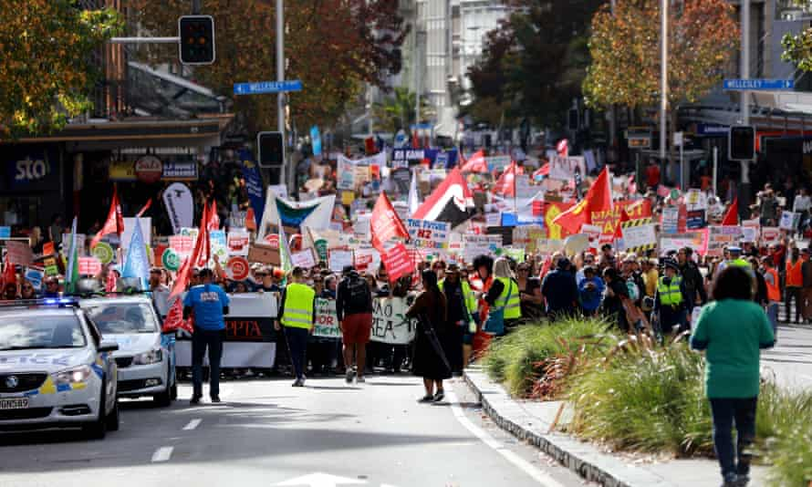 Thousands protest against teacher pay and conditions in New Zealand.