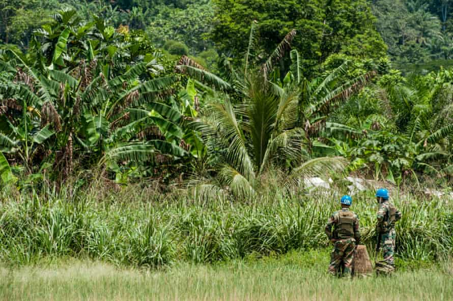 Soldiers from the UN stabilisation mission guard an airstrip in North Kivu province