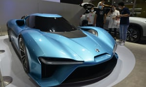 A Nio EP9 sports car on display at the 13th China (Nanjing) International Auto Expo in July 2020.