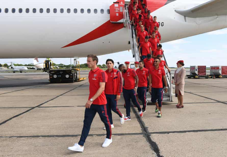 Arsenal players at Stansted airport before departing for their tour.