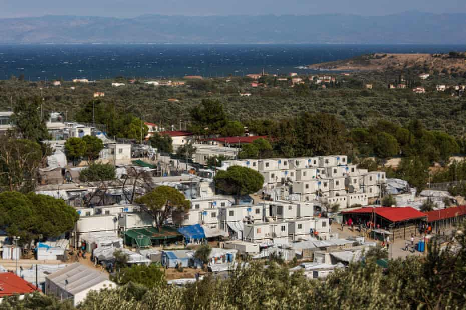 Part of Moria camp, with the Turkish coast in the background