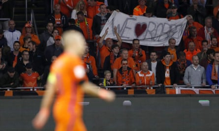 Holland fans show their appreciation for their captain during the game against Sweden on Tuesday night.