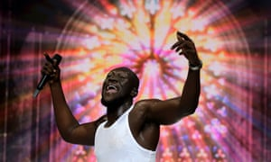Stormzy on stage at the O2 Arena in London