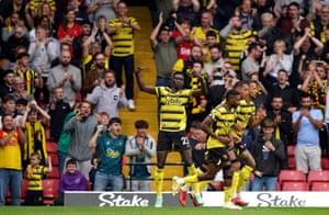 Watford's Ismaila Sarr celebrates scoring their equaliser.