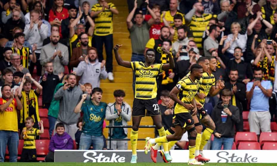 Ismaila Sarr celebrates scoring to make it 1-1 against Newcastle