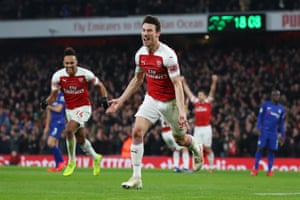 Laurent Koscielny of Arsenal celebrates after scoring his sides second goal.