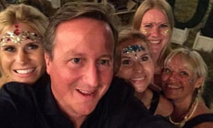 David Cameron pictured with a hen party at Wilderness this year.