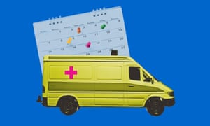 Photo composite of ambulance and calendar