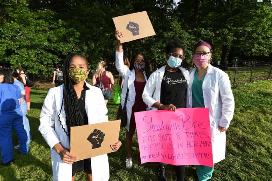 Doctors supporting Back Lives Matter in Central Park protest on 6 June.