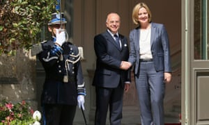 French interior minister Cazeneuve welcomes Amber Rudd, the home secretary, before their meeting in Paris today.