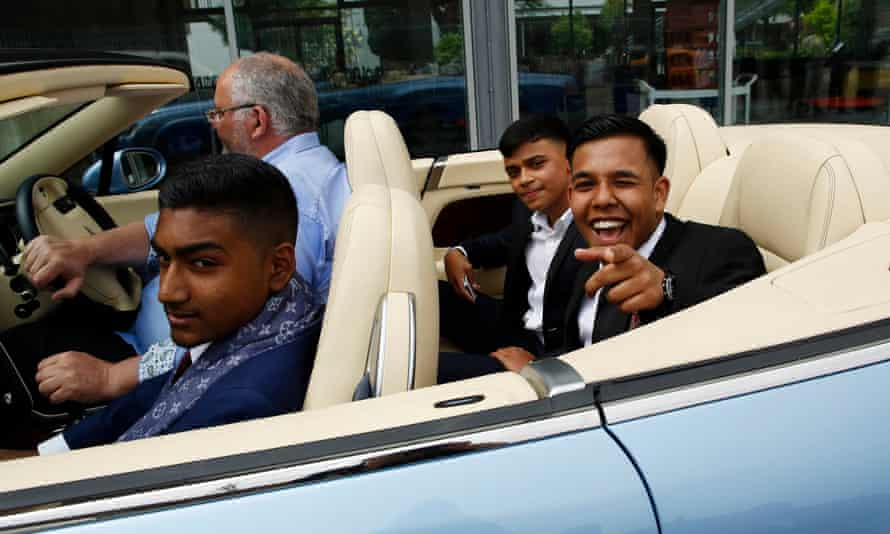 Pupils at Morpeth school in Tower Hamlets, east London, in a hired Bentley