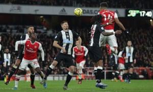 Arsenal's Pierre-Emerick Aubameyang scores their first goal.