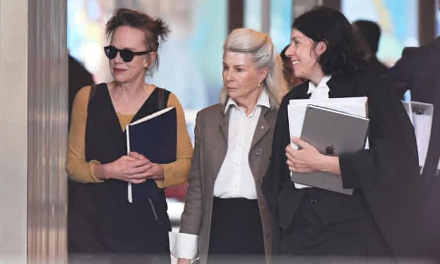 Actors Judy Davis and Robyn Nevin arrive at the federal court to give evidence in Geoffrey Rush's defamation trial against the Daily Telegraph.