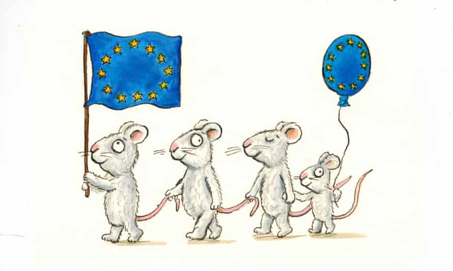 One of Axel Scheffler's two illustrations for the Drawings for Europe project features a family of mice with an EU flag and balloon