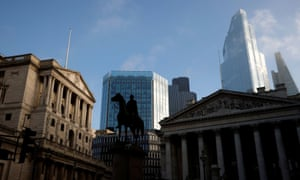 The Bank of England and the City of London financial district.