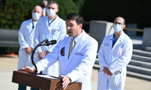 White House physician Sean Conley at Walter Reed Medical Center in Bethesda, Maryland.