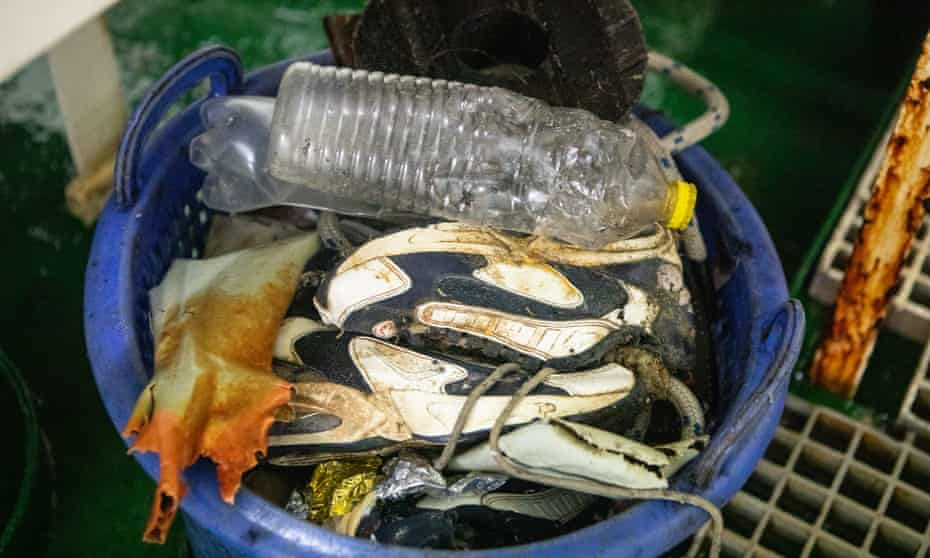 A bucket of rubbish, including trainers from a container which sank 20 years ago.
