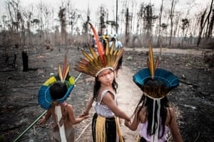 Children from the Huni Kuin tribe on land ravaged by the 2019 Amazon fires.