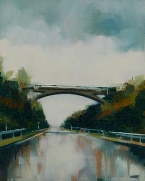 Concrete Slither motoway bridge painting by artist Jen Orpin.