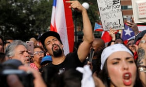 Actor Lin-Manuel Miranda joins protesters in New York's Union Square to call for the Puerto Rico governor, Ricardo Rosselló, to resign, 17 July 2019.
