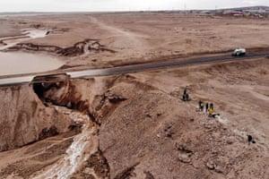 Chuquicamata, Chile: An aerial view of a flooded area near the Chuquicamata mine