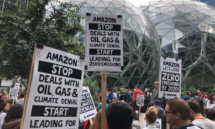 Amazon workers gather in front of 'the spheres', part of the company's HQ, to participate in a climate strike in late 2019.