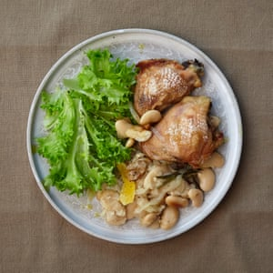 Gill Meller's chicken with white beans, rosemary, garlic and sage