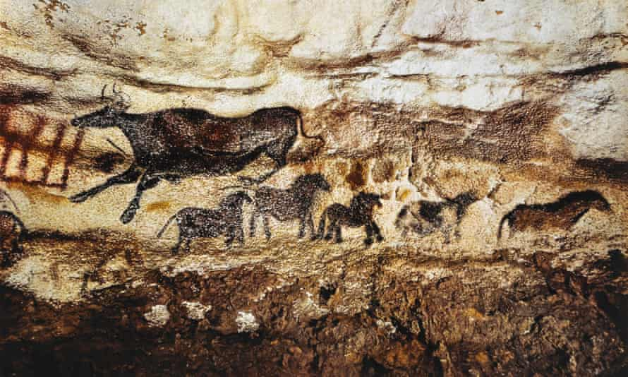 Cave art breakthrough … a painting of a cow and horses at Lascaux, France.