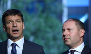 Angus Taylor (left) had talks with the office of then environment minister Josh Frydenberg (right) about the laws at the centre of an investigation into the alleged poisoning of endangered grass on a property owned by a company that he and his brother have an interest.