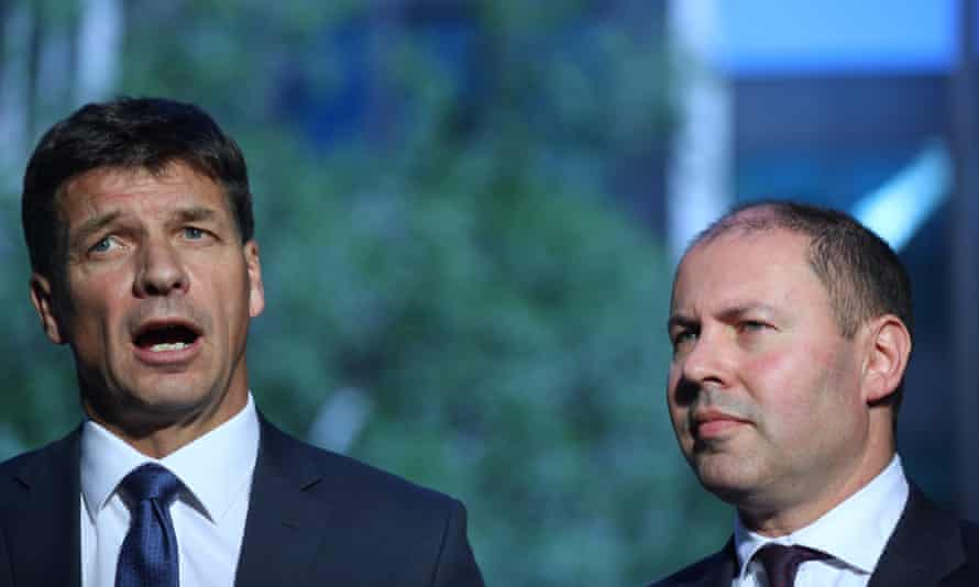 Angus Taylor and Josh Frydenberg at a media conference