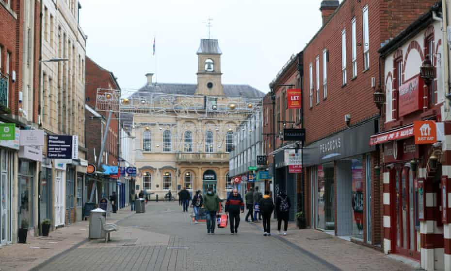 A high street in Loughborough, Leicestershire