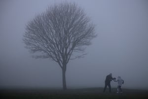 Bromley, England A boxing training session takes place in the fog on Bromley Common