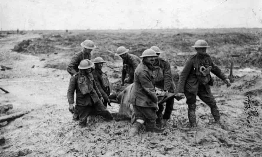 A stretcher-bearing party carrying a wounded soldier during the battle of Passchendaele.