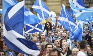 Scots rally for independence during the 2014 referendum campaign.