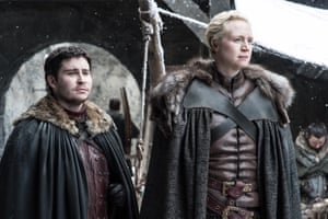 Winter is coming … Portman as the loyal Podrick, with Gwendoline Christie as Brienne of Tarth.