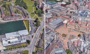 The geometric and traditional centres of Birmingham. An outdoor sports field at the Heartland's Academy (left) and Victoria Square with the Town Hall (right)